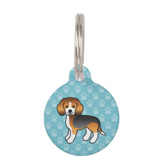 Tricolor Cute Beagle Hound Dog With Dog's Info Pet Name Tag