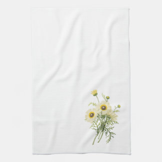 tricolor daisy(Chrysanthemum carinatum) by Redouté Kitchen Towel