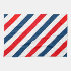 Tricolor Diagonal Stripes(blue, white, and red) Kitchen Towel