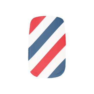 Tricolor Diagonal Stripes(blue, white, and red) Nail Sticker