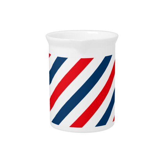 Tricolor Diagonal Stripes(blue, white, and red) Pitcher