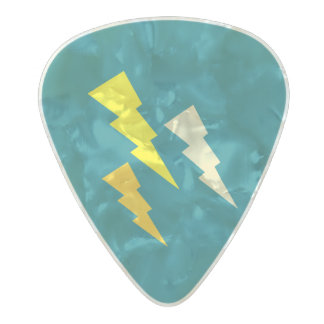 Tricolor Lightning Bolt Pearl Celluloid Guitar Pick