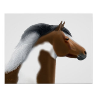 Tricolor Paint Horse Portrait Print
