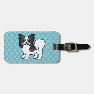 Tricolor Papillon Breed Cartoon Dog Luggage Tag