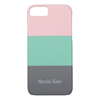 Tricolor phone, steel-green-rose iPhone 7 case