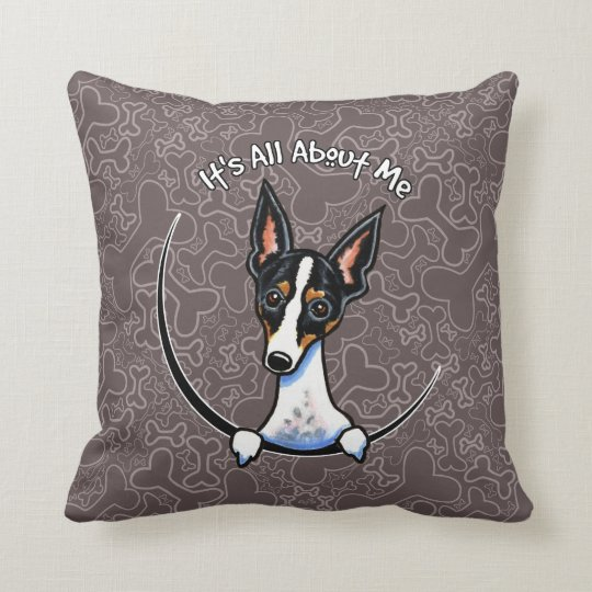 Tricolor Rat Terrier IAAM Throw Pillow
