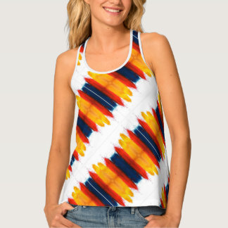 Tricolor Red Yellow And Blue Pattern On White Tank Top