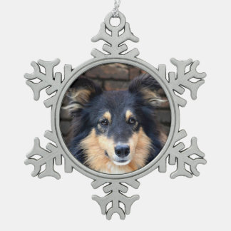 Tricolor Sheltie face Snowflake Pewter Christmas Ornament