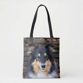 Tricolor Sheltie face Tote Bag