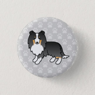 Tricolor Shetland Sheepdog Illustration On Grey 1 Inch Round Button