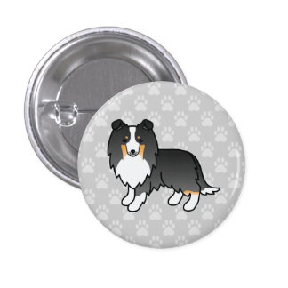 Tricolor Shetland Sheepdog Illustration On Grey 1 Inch Round Button