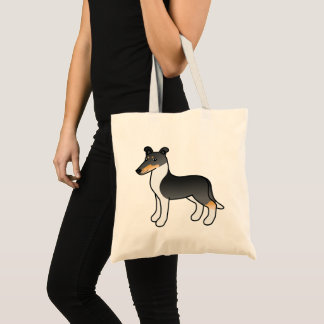 Tricolor Smooth Collie Cartoon Dog Tote Bag