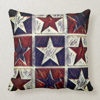 Tricolor Stars Throw Pillow