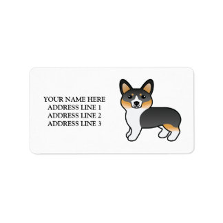 Tricolor Welsh Corgi Pembroke Dog With Custom Text Label