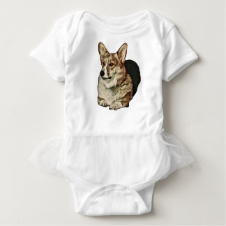 Tricolor Welsh Corgi Sitting Baby Bodysuit