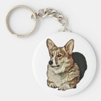 Tricolor Welsh Corgi Sitting Basic Round Button Keychain