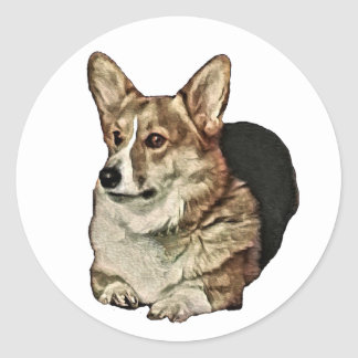 Tricolor Welsh Corgi Sitting Classic Round Sticker
