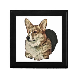 Tricolor Welsh Corgi Sitting Gift Box