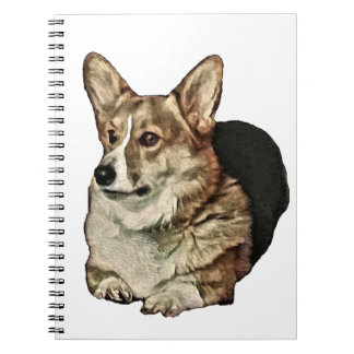 Tricolor Welsh Corgi Sitting Notebook