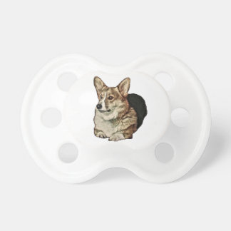 Tricolor Welsh Corgi Sitting Pacifier