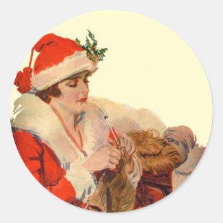 Tricotage pour Noël Autocollant Rond
