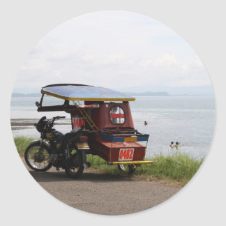 Tricycle at the San Pedro Bay Round Sticker