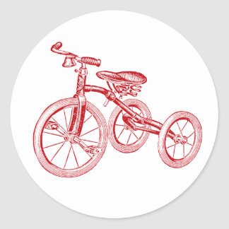 Tricycle rouge vintage sticker rond