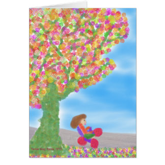 Tricycle Under a Magical Tree Greeting card