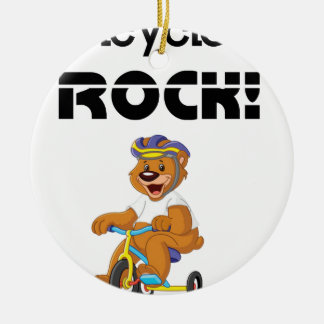 Tricycles Rock! Round Ceramic Ornament