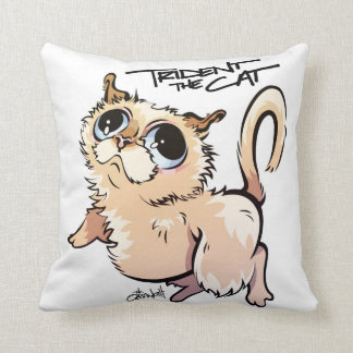 Trident the Cat Character Throw Pillow 01