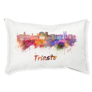 Trieste skyline in watercolor small dog bed