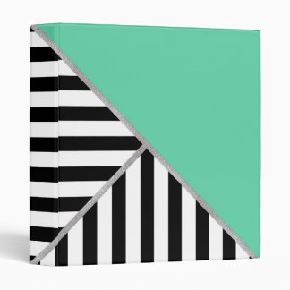 Trifold Teal and Stripes Vinyl Binder