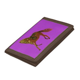 TriFold Wallet Horses Brown purple
