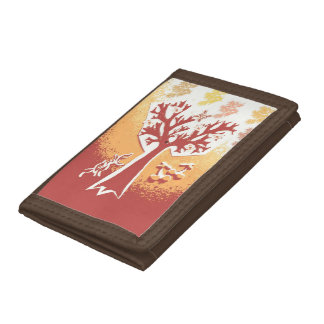 TriFold Wallet Nylon One Tree Burnt Rustic Grunge