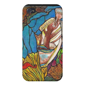 Trigger Fish and Seahorse Coral Reef Art Cover For iPhone 4