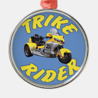 Trike Rider in Yellow Silver-Colored Round Ornament