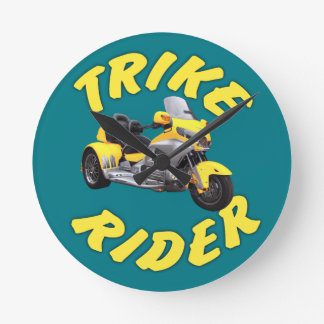 Trike Rider in Yellow Wallclock