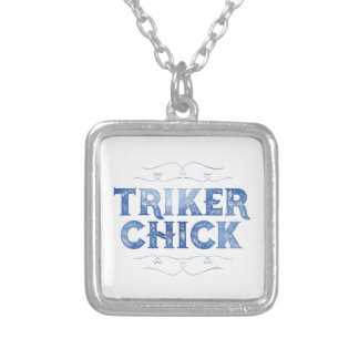 Triker Chick, Distressed Silver Plated Necklace