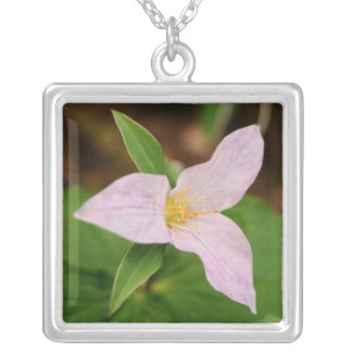 Trillium Flower Silver Plated Necklace
