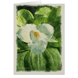 Trillium Flower Watercolor Effect Card