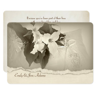 Trillium in sepia tone Wedding Vow Renewal Card