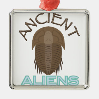 Trilobite Ancient Aliens Silver-Colored Square Ornament