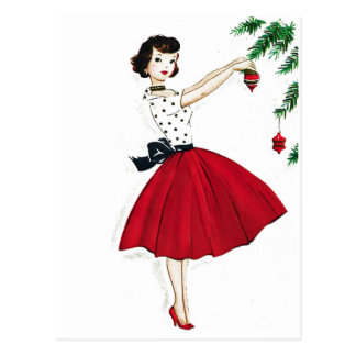 Trimming the Tree in Red Satin Postcard