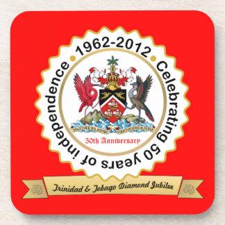 Trinidad and Tobago 50th Anniversary Coat Of Arms Beverage Coaster