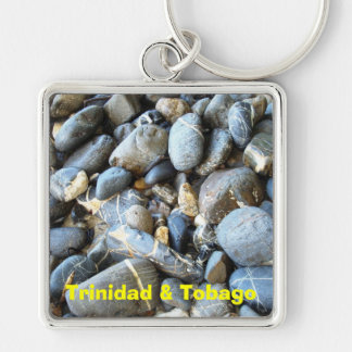 Trinidad and Tobago Beach Stones Silver-Colored Square Keychain