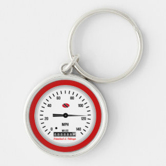 Trinidad and Tobago Car Speedometer Silver-Colored Round Keychain
