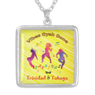 Trinidad and Tobago Carnival Square Pendant Necklace