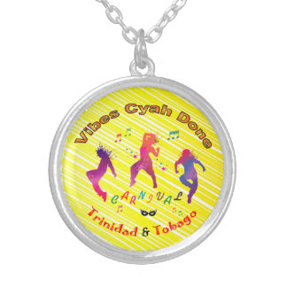 Trinidad and Tobago Carnival Round Pendant Necklace