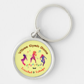 Trinidad and Tobago Carnival Silver-Colored Round Keychain