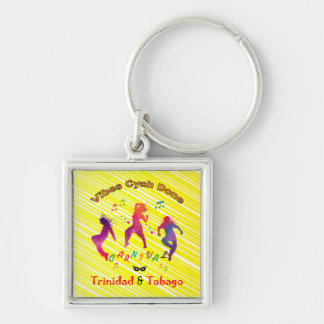 Trinidad and Tobago Carnival Silver-Colored Square Keychain